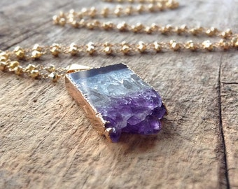 Raw Amethyst Necklace, Pendant Necklace, Amethyst Slice, Raw Stone Jewelry, Gold Pyrite, Long Necklace, Bohemian Necklace, Bohemian Jewelry