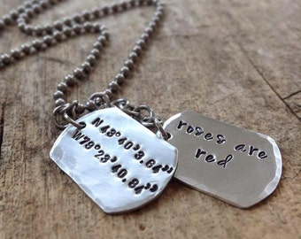 Men's DOUBLE Dog Tag Necklace, Personalized Dog Tags, Custom Name Necklace, Personalized Jewelry, Gift for Dad, Father's Day