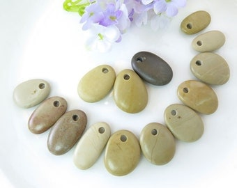 Bulk Top Drilled Beach Stones 14 pcs Jewelry Supplies  Eco Friendly Medium Beads Beach Pebbles for Crafts DIY Mobile Bracelet Earrings Pairs
