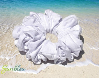 Cotton Knit Scrunchie in White