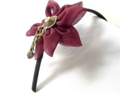 Dark Red Kuchi Button Flower Headband Tsumami Kanzashi Fusion