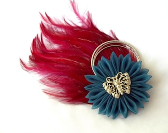 Red and Teal Feather Fascinator with Kanzashi Flower and Butterfly