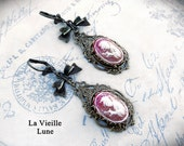 Coral Pink Victorian Cameo Earrings, Victorian Earrings, Victorian Jewelry