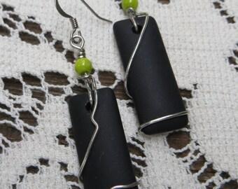 "Black "" Sea Glass"" Earrings Silver Wire Wrapped Handmade Jewelry"