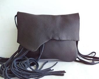 black leather handbag, hip bag belt bag with fringe bty Tuscada. Made to order