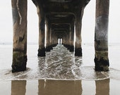 "Manhattan Beach Pier Photograph, California Beach, Under Pier, Nautical Gray White Beige Neutral Decor,""Manhattan Beach Pier"""