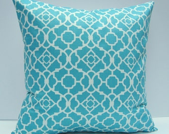 Aqua Geometric Pillow Cover, Aqua Throw Pillow, Turquoise Blue Pillow Cover, 18x18 Inch Cushion