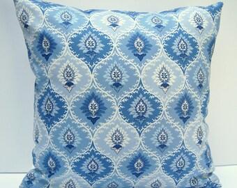 Blue Geometric Pillow Cover, Blue Throw Pillow, Geometric Cushion Cover, 18x18, Blue and White Pillow Cover