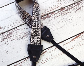 Black and Cream Damask Leather and Suede Camera Strap