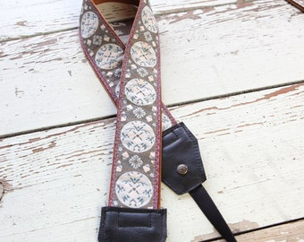 Marie Antionette Style Leather and Suede Camera Strap