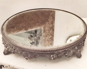 Antique Victorian Footed Mirrored Plateau