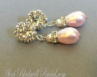 Blush Pink Pearl Earrings in Rosaline Swarovski teardrop Pearls with tiny White and Rhinestone Post and spacers blush wedding jewelry