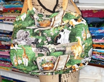 Ready to Ship Swoon Vintage Style Julie Ring Top Handbag Tote Country Garden Cats or Custom Colors