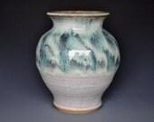 Ceramic Flower Vase Handmade  Pottery Blue Jade A