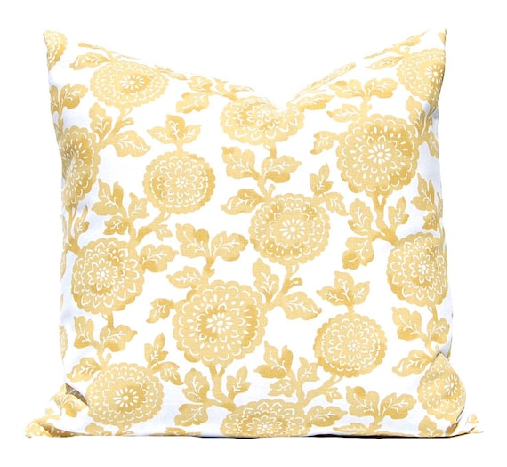 Items similar to Gold Pillow Covers, Decorative Throw Pillow Cover, Gold Floral, Yellow Cushion ...
