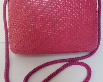 Vintage 1970's Pink Wicker Purse/Hot Pink Wicker Purse/Italian Wicker Purse/Hot Pink Wicker Shoulder Bag/ Made in Italy