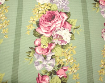 Gorgeous Pink Roses, Lilacs, Hydrangeas and Other Flowers on Sage Green Unused Vintage Barkcloth Fabric - 60 Inches Long x 48 Inches Wide