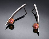 mystic topaz earrings, silver earrings, Argentium silver, multi-colored gemstone, contemporary jewelry, unique earrings - 2458