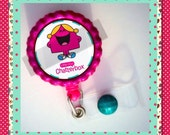 "Badge Reel Accessory ""Little Miss / Mr."" Bottle Cap Retractable ID Name Tag, Unique Medical Gifts, Work Accessories, Gifts for Coworkers"