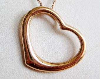 Vintage Rose Gold Vermeil Sterling Silver Heart Shaped Necklace Pendant & Chain