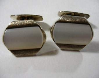 Vintage Signed AMD Gold Tone Cufflinks with Moonglow Lucite