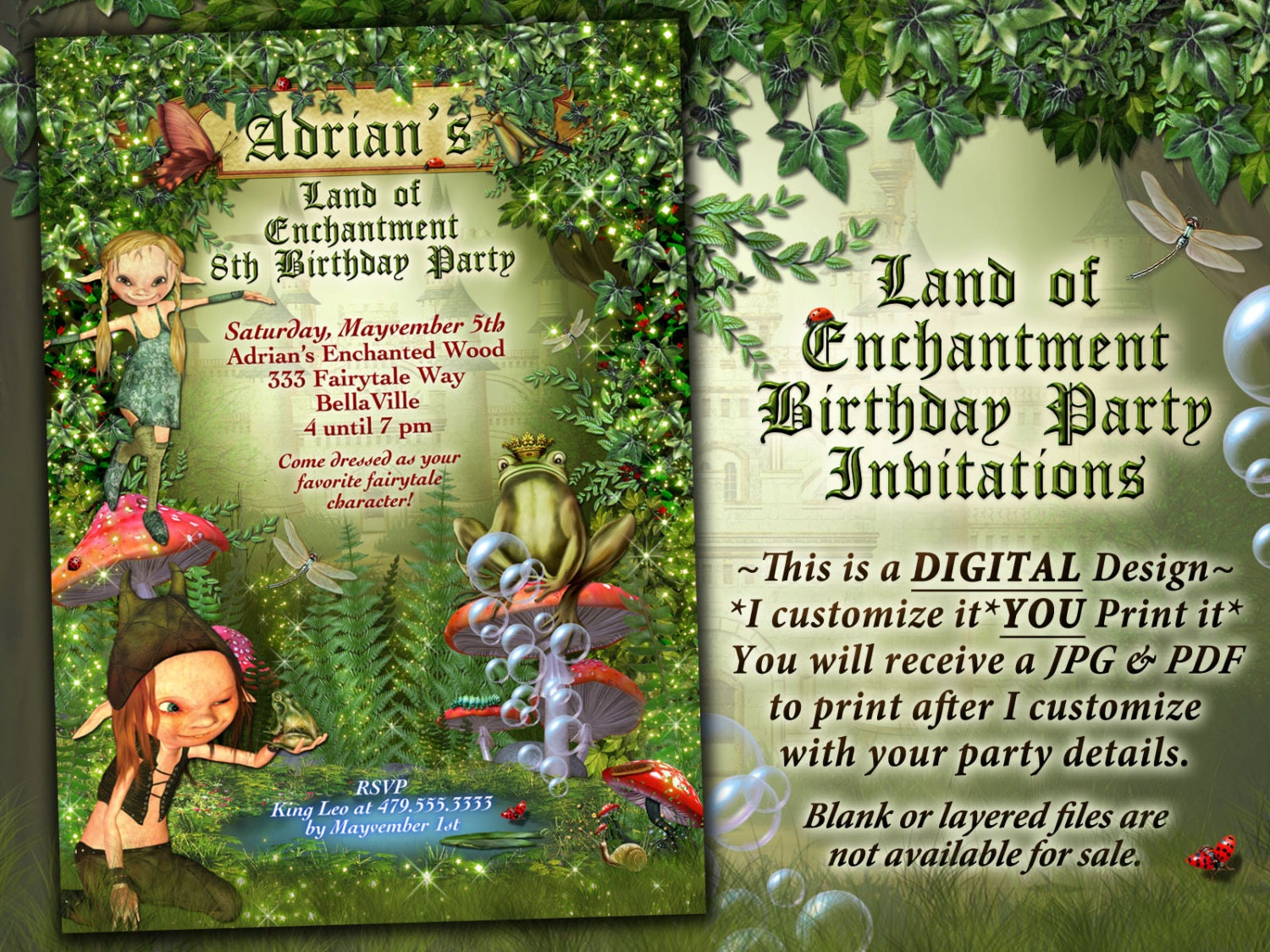 Enchanted Forest Themed Wedding Invitations: Fairytale Forest Party Enchanted Wood Invitation Frog Castle
