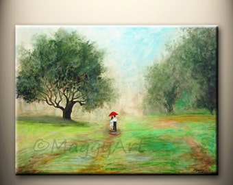 walking in the rain in park - 24x18inch, large original modern painting, on stretched canvas, ready to hang,great wedding gift