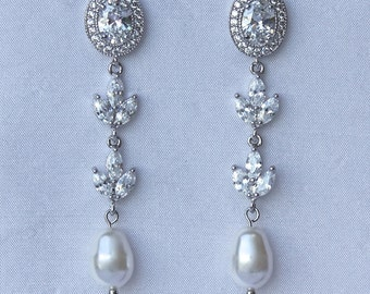 Bridal Earrings, Long Pearl Earrings, Custom Pearl Drop Earrings, Crystal Dangle Earrings, Wedding Jewelry, Bridal Jewelry, JILL