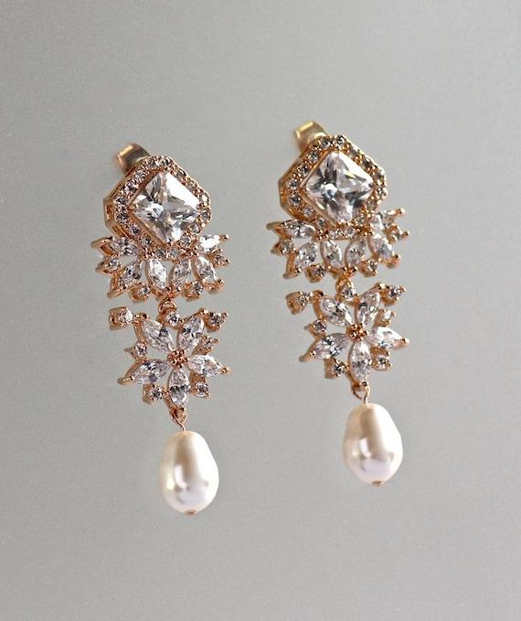 Crystal Chandelier Earrings Rose Gold Bridal Earrings