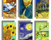 SALE -- 1 X 2 Pendant Size, Van Gogh Paintings, 24 Different, Vintage Art for Scrapbooking, Jewelry, Collage, Decoupage, etc. CS 429