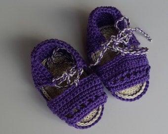 Purple girl shoes,girl sandals,handmade kids shoes,newborn crochet sandals