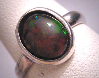 Vintage Fire Opal Ring Wedding Engagement Gemstone Solitaire Silver