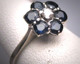 Antique Sapphire Diamond Wedding Ring 18K White Gold Art Deco 1930