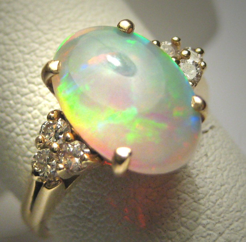 Antique Australian Opal Diamond Ring Wedding Art Deco 14k Gold
