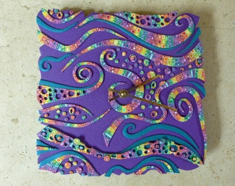 Rainbow Swirls Clock Polymer Clay. Free Form Retro, Rainbow Crazy Stripe on Purple. Earth Charity 100%