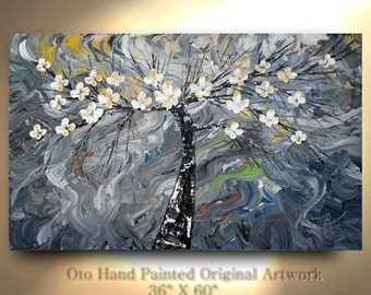 """Abstract Painting 36"""" x 60"""" Tree Art Gift White Flowers Large Canvas Art Hand Painted Oil Painting Wall Decor gift by OTO"""