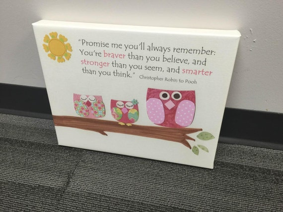 Baby Girl room decor Nursery Children Artwork...Promise me..on canvas gallery wrap, 11x14 pink owls
