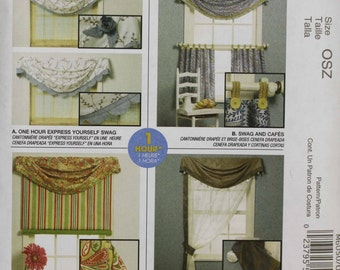 MCCalls M6050 Home Decor Swag Cafe' Roll-up Banded Panel Curtain Valance Window Treatment  Uncut Sew Sewing Pattern