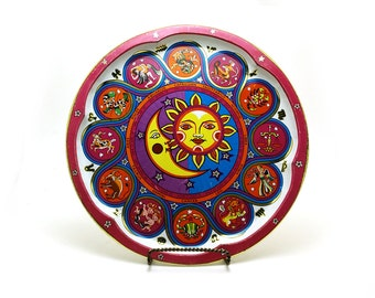 Vintage zodiac Daher tin tray - Astrology - Sun and Moon - Lithograph plate - Colorful Pink Yellow