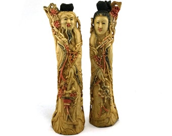 Antique Chinese bone sculpture - Emperor & Empress figurines - polychrome - Camel bone Taoist statue - Asian art