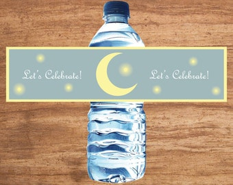 Instant Download Moon And Stars Party Water Bottle Labels