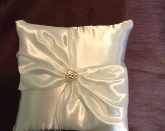 ring bearer pillow ivory satin pillow with gold