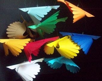 Paper Birds--Twelve Multi-Colored Flying Paper Birds