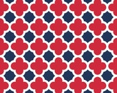 Riley Blake Fabric - 1 Yard of Quartrefoil in Red and Navy