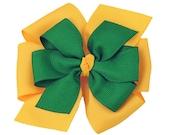 Oregon Ducks Hair Bow - Green Bay Packers - Large Pinwheel Bow - Kelly Green Yellow - Emerald Green Yellow Gold Layered Hair Bow - Etsykids