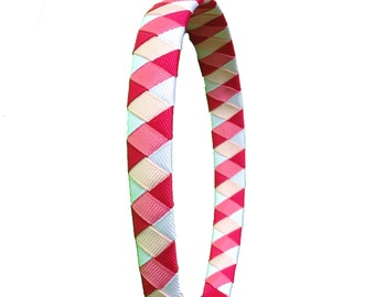 Multi Pink and White Woven Headband - White, Light Pink, Hot Pink, Magenta Woven Headband