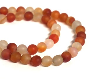 Matte Carnelian 8mm round gemstone beads, full & half strands available  (1130s)