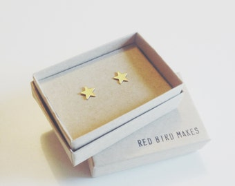 Minimal Geometric Brass Star Stud Earrings