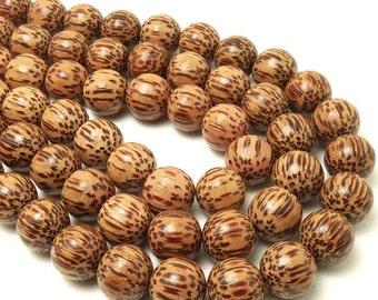 "Palmwood, Light, 14mm - 15mm, Round, Smooth, Natural Wood Beads, Full 16"" Strand, 28-30pcs - ID 1053-LT"