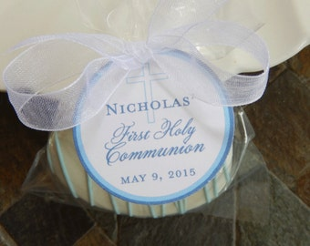 "First Holy Communion Custom 1.5"" Favor Tags - For Cake Pops - Lollipops - Cookies - Mason Jar Gifts - Thank You Party Favors - (50) Tags"